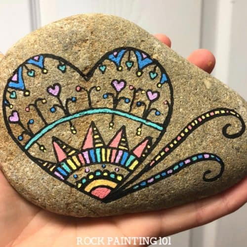 Mandala Heart Painted Rock. A fun rock painting technique.
