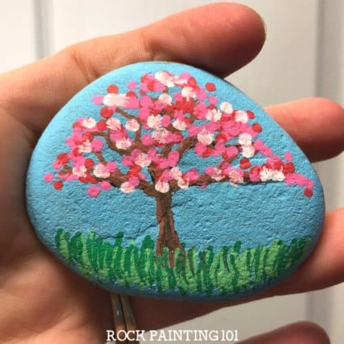 Apple Blossom Dot Painted Rock.