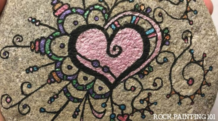 Zendangle Heart Painted Rocks