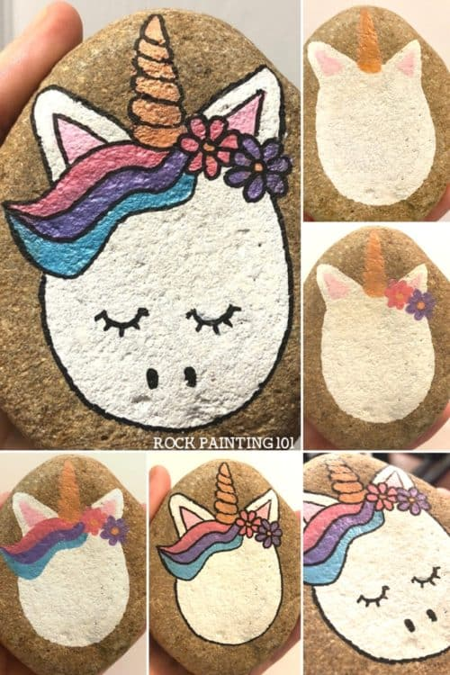 Unicorn rocks. How to draw a unicorn on a rock. Step by step instructions for this fun rock painting project! #unicornrocks #howtodrawaunicorn #animalrocks #rockpainting #stonepainting #paintedrocks #rockpainting101