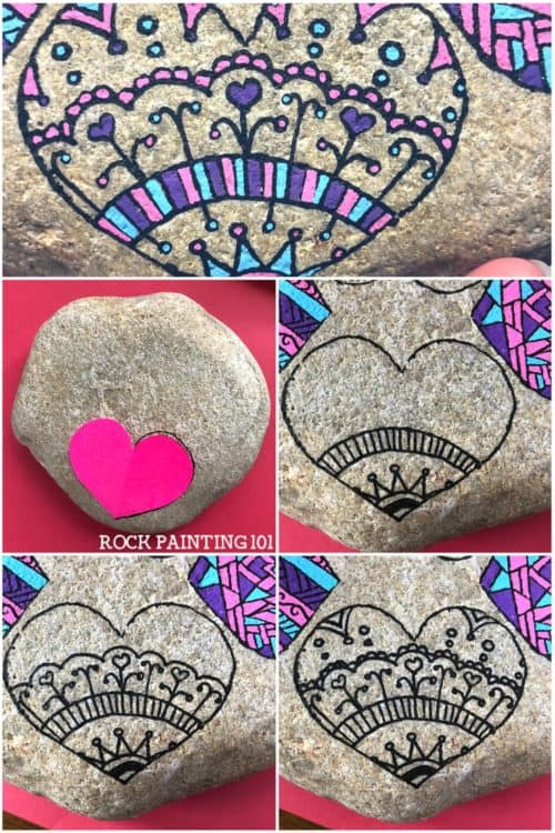 Mandala Heart Painted Rock. A fun rock painting technique. #mandala #heartrock #heartpaintedrock #mandalarock #rockpainting #stonepainting #rockpainting101