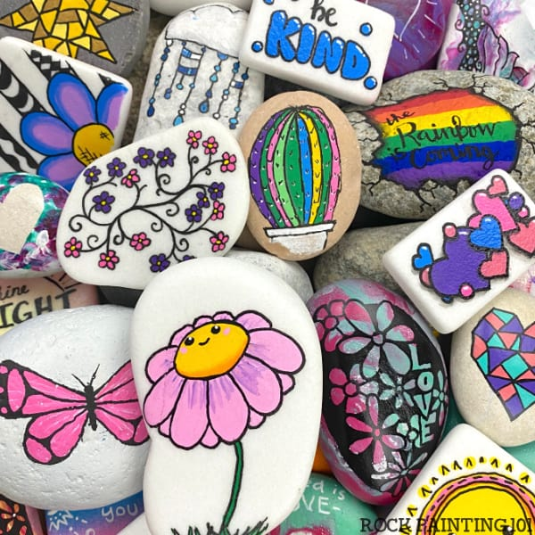 Pile of easy rock painting ideas