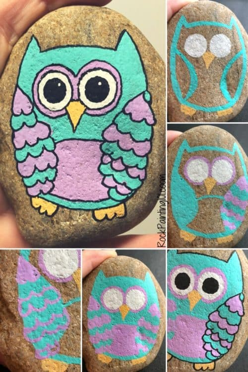 Easy owl painting that will inspire amazing rocks - Rock ...