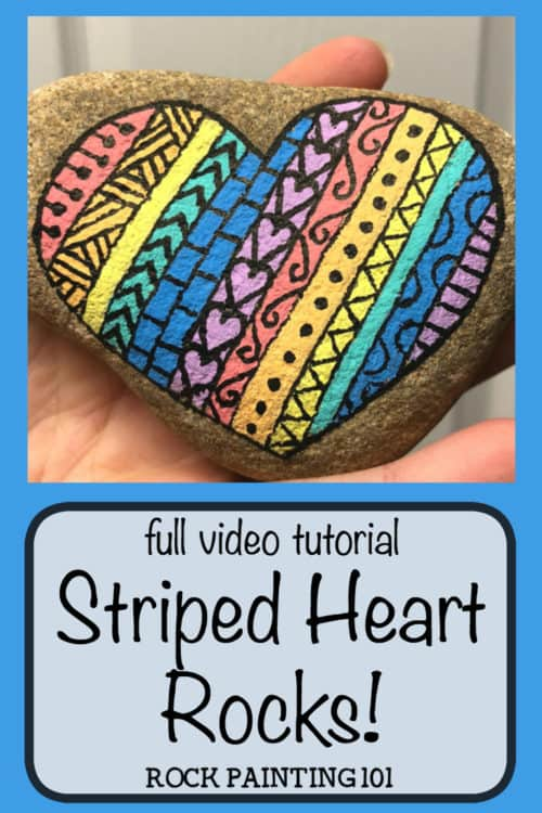 Create striped heart rocks with fun designs in them. Create rock painting project for beginners. #heartrocks #heartpaintedrocks #rockpainting #stonepainting #heartart #rockpainting101