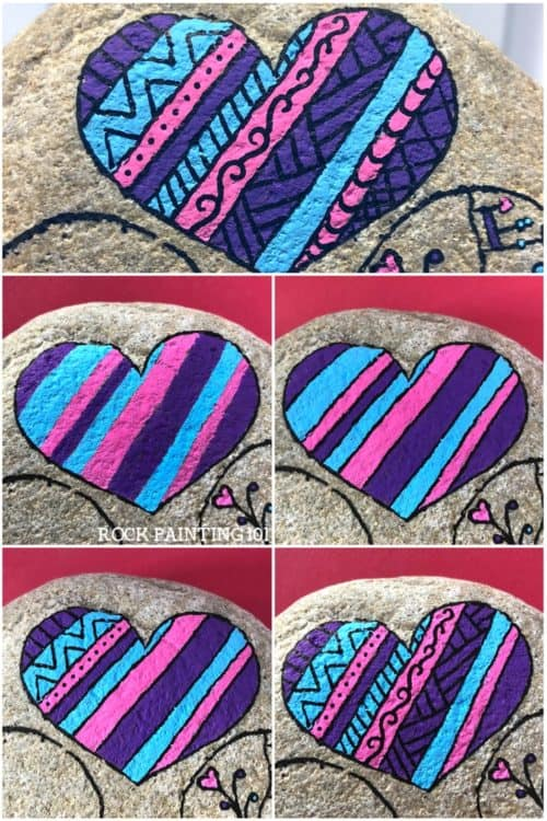 Create striped heart rock with fun designs in them. Create rock painting project for beginners. #heartrocks #heartpaintedrocks #rockpainting #stonepainting #heartart #rockpainting101