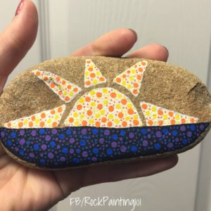 These sunset rocks are created using the dot painting technique. It's a fun rock painting for beginners technique that we love!
