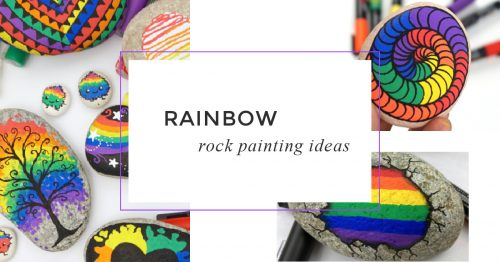 These rainbow rock painting ideas are perfect for brightening up someone's day! Each rainbow has a tutorial and is perfect for beginners. #rainbow #rocks #stones #rockpainting #paintedrocks #rockpainting101