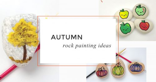 These fall rock painting ideas are perfect for hiding around town, decorating your holiday table, or giving as a gift. #fall #autumn #rockpainting #stonepainting #paintedrocks #howtopaintrocks #rockpainting101