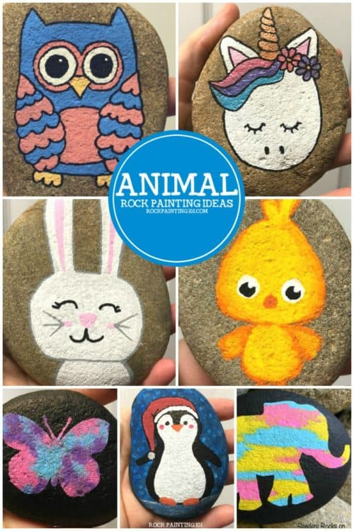 Animal rocks are fun to paint. From adorable bunnies to fun owls, this ever-growing list of animal painted rocks is sure to inspire. Learn how to paint animals on rocks with these step by step video tutorials. #animalrocks #animalpaintedrocks #animalcraft #rockpaintingideas #howtopaintanimalsonrocks #stonepainting #howtopaintrocks #rockpainting101