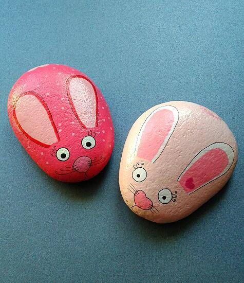Bunny Painted Rocks from Unicatella