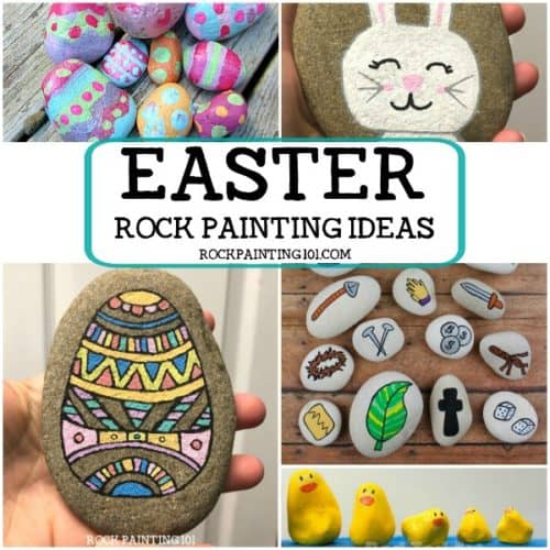 Easter rock painting ideas. Create Ester rocks with this fun collection of stone painting ideas for beginners! Eggs, bunnys, chicks, and more!