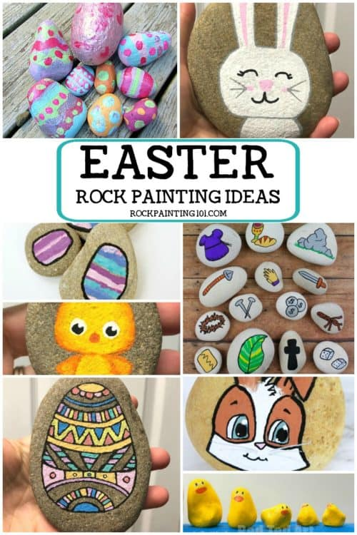 Easter rock painting ideas. Create Ester rocks with this fun collection of stone painting ideas for beginners! Eggs, bunnys, chicks, and more! #Easterrocks #Easterrockpaintingideas #stonepaintingideas #easterbunnyrocks #easterchickrocks #eastereggrocks #easterrockhunt #rockpainting101