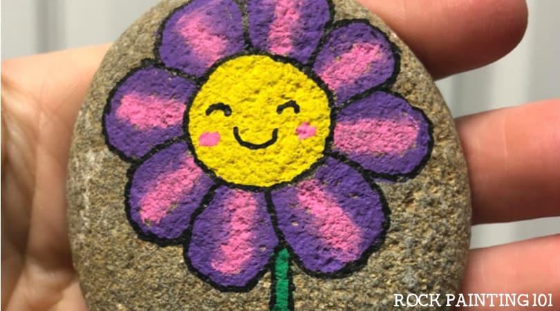 Happy Flower Rocks ~ An easy flower painting idea