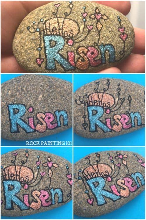He Has Risen! Zendangle Easter Rock Painting Idea. #easterrockpainting #zendangle #christianrockpainting #hehasrisen #happyeaster #rockpainting #stoneart #rockpainting101