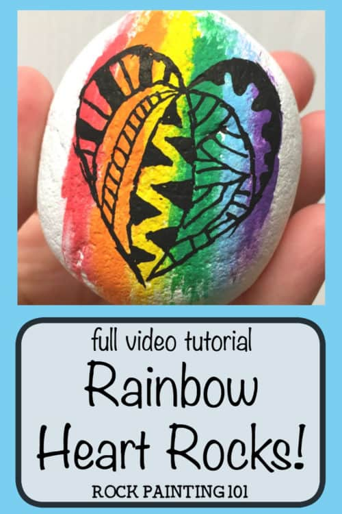 Rainbow Heart Rock with Zentangle style techniques. Create a fun blended rainbow background and then paint your rock with a zentangle heart! #heartrock #rainbowrock #rainbowheartrock #zentangle #zentanglerockpainting #zentangledrawing #zentanglerocks #rockpainting101