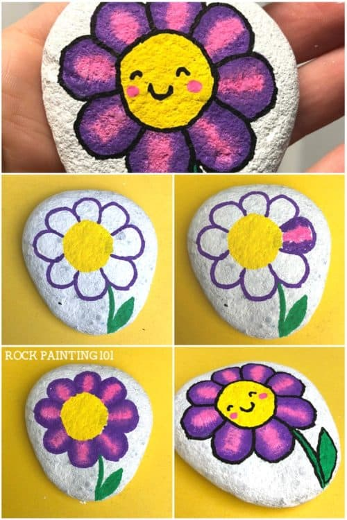 Step By Instructions For Flower Rock Painting These Happy Rocks Are An Easy Idea That Works Perfectly On