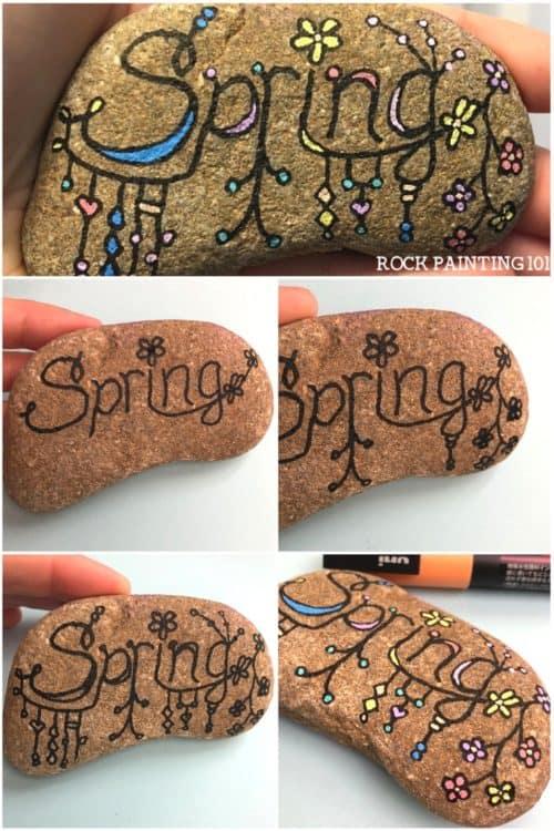 Zendangle Spring Rocks are a fund dangles doodle idea. Learn how to create zendangles dangles step by step and have fun with this spring rock painting ideas. #zendanglespringrocks #springpaintedrocks #springstonepainting #springpaintingideas #zendangle #danglesdoodle #danglesonrocks #zendanglesdanglesstepbystep #rockpainting101