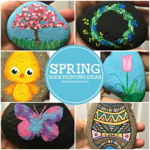 Spring rocks! Easy rock painting ideas. Simple painted rock ideas that are perfect for spring crafting, hiding, gifting, and decorating!