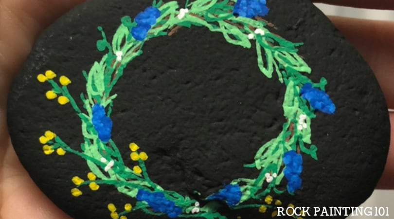 Spring Wreath Painted Rock ~ Spring stone painting that inspires!