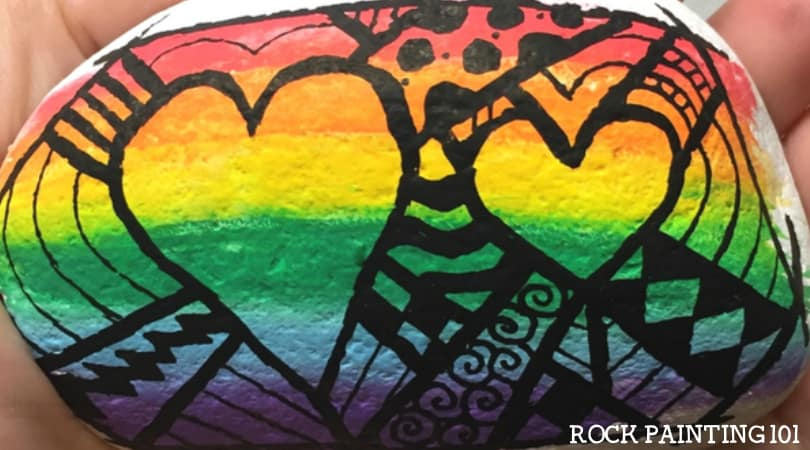 Rainbow Heart Rock with a fun Zentangle design