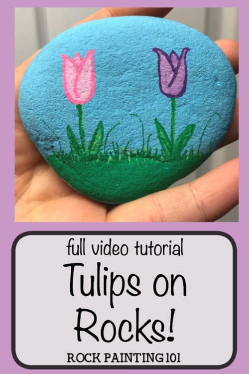 Thesetulip painted rocks are the perfect rock painting idea for spring! Learn how to draw a tulip while creating a rock that's perfect for hiding, gifting, or decorating! #tulippaintedrocks #springrockpainting #howtodrawatulip #springart #rockpaintingideas #rockpaintingforbeginners #stoneart #rockpainting101