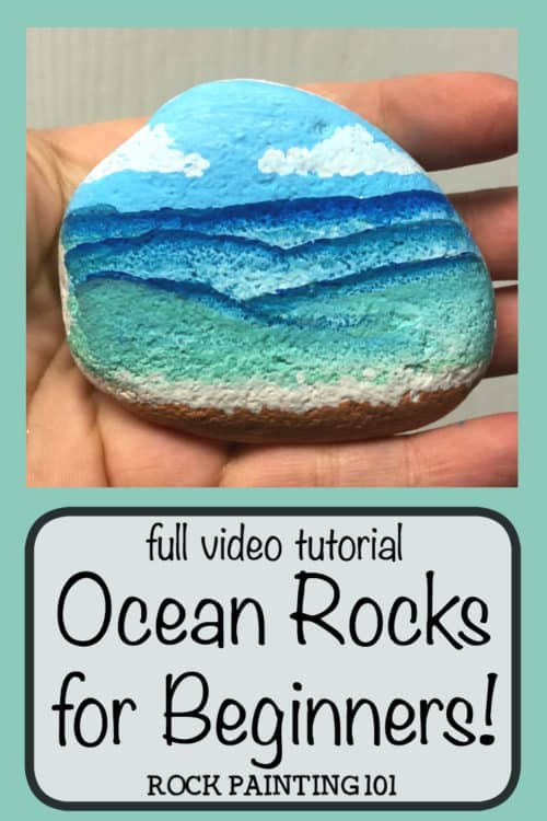 How to paint beach painted rocks. Paint fun waves onto stones with this video tutorial. #beachpaintedrocks #rockpaintng #stonepainting #paintedpebbles #howtopaintrocks #beachrockpainting #summerrockpainting #rockpaintingforbeginners #videotutorial #rockpainting101