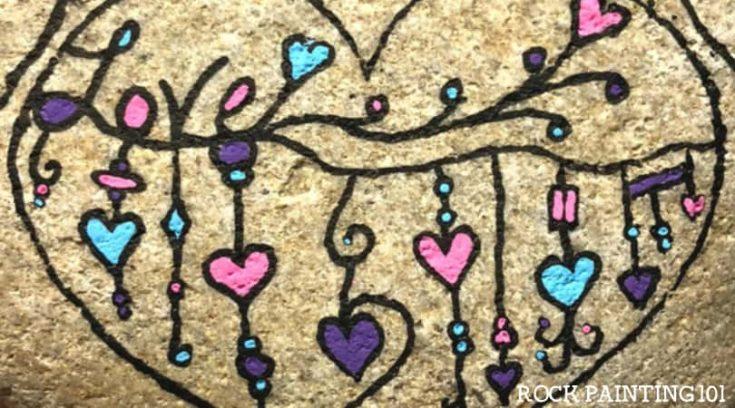 Dangle Heart Painted Rocks