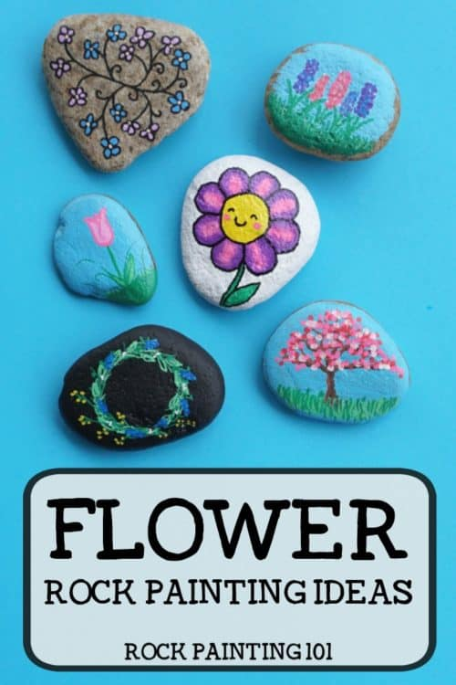Flower rocks that are bright, colorful, easy to create, and fun! Check out this collection of easy flower painting ideas that will make beautifully painted rocks! #flowerrocks #rockpainting #stonepainting #paintedpebbles #flowerrockpainting #easyflowerpainting #simpleflowers #paintedrocks #rockpaintingforbeginners #springrocks #rockpaintingspring #rockpaintingflowers #howtodrawaflower #rockpainting101