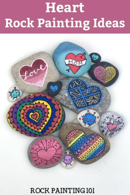 Heart rocks for valentines day, mother's day, kindness rocks, or just a fun rock painting idea! #rockpainting101