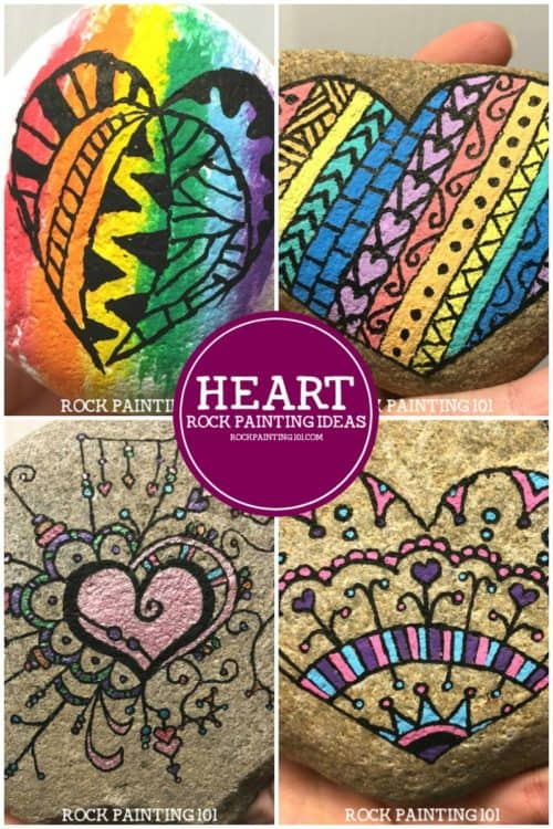 Heart rocks make lovely painted rocks. You can incorporate so many different techniques that there is a style that's perfect for any skill level. This collection will inspire you to pick up your paint pen (or brush) and create some beautiful rocks. #heartrocks #heartpaintedrocks #rockpaintinghearts #stonepaintingideas #rockpaintingideas #howtopaintrocks #rockpainting101