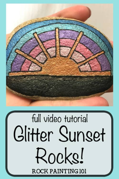 Watch how to paint an amazing graphic sunset using glitter Uni Posca paint pens #sunset #graphicsunset #sunsetrock #stonepainting #rockpainting #howtopaintrocks #glitterpaintpens #posca #rockpainting101
