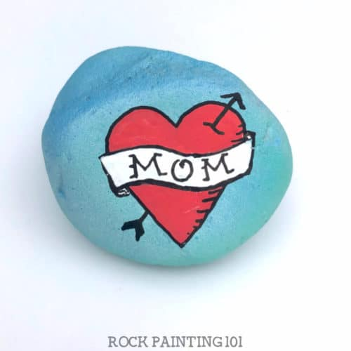Mom Tattoo Rock is perfect for giving this Mother's day. #rockpainting101
