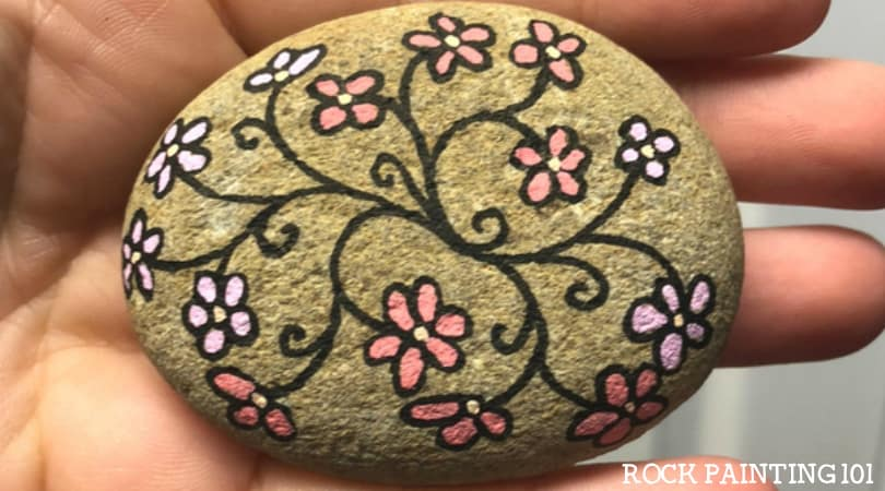 Flower Vines Painted Rocks ~ A quick stone painting idea for beginners