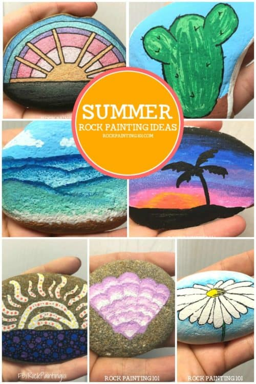 These easy summer themed rocks are perfect for beginners. From rock hunting to gifting, these stone painting ideas are sure to brighten anyone's day! #summerthemedrocks #summerrockpainting #rockpaintingideas #stonepainting #paintedrocks #rockpaintingforbeginners #rockpainting101