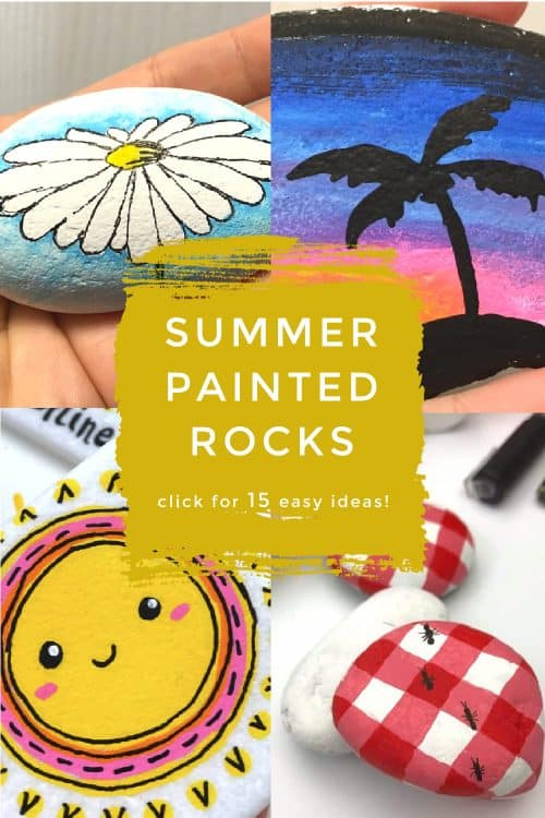 Summer rock painting ideas that are perfect for hiding or gifting. Hide these summer painted rocks in your city or during a long road trip! #summer #paintedrocks #twitchetts