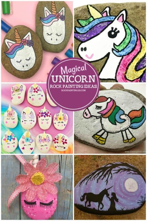 Unicorn rocks that are perfect for beginners. Learn how to paint unicorns with this collection of rock painting ideas! #unicornrockpainting #unicornpainting #unicorncrafts #howtodrawaunicorn #stonepainting #rockpaintingforbeginners #rockpainting101