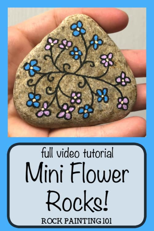 These flower vine rocks are a simple flower painting idea that is perfect for the beginner rock painter. #flowervinerock #miniflowerrocks #simpleflowerpainting #paintingflowersonrocks #stonepaintingflowerpebbleart #howtopaintrocks #poscapaintpens #rockpaintingforbeginners #rockpaintingspring #rockpainting101