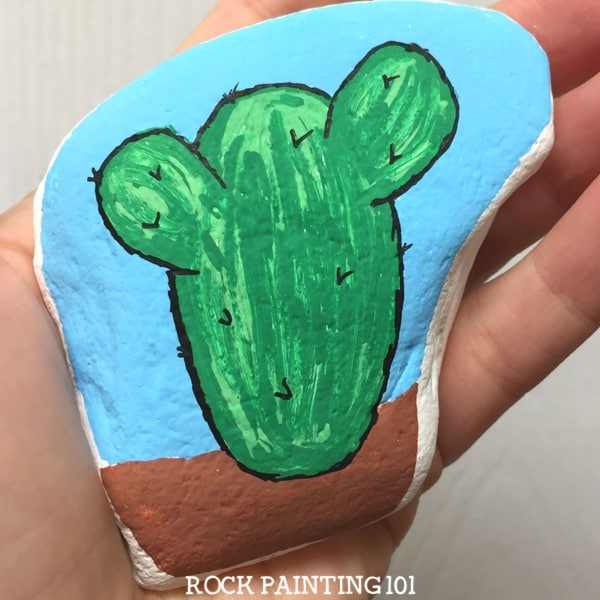 Check out this simple tutorial for painting a cactus on a rock.