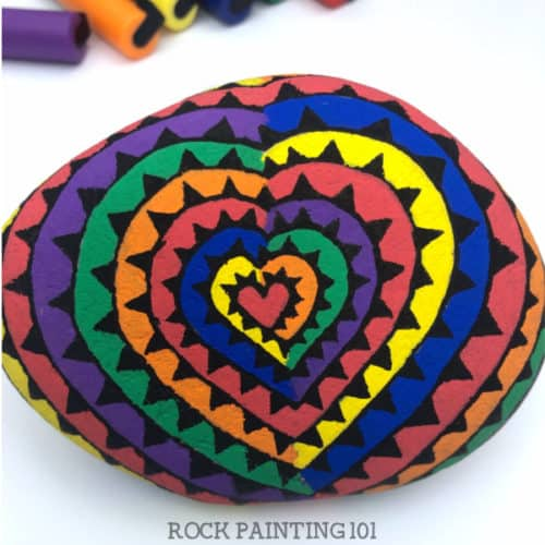 This rainbow spiral heart rock is so much fun to paint!! #rockpainting101