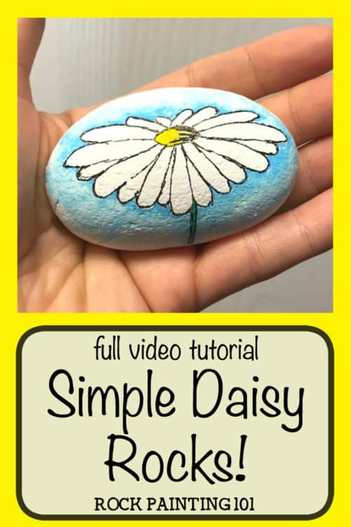 Create a watercolor effect with Posca paint pens or regular acrylic paints. This easy tutorial will walk you through a fun technique by painting a daisy rock. Watch the video and find out how easy this process is. It's perfect for rock painting beginners! #daisy #howtodrawadaisy #rockpainting #stonepainting #paintedrocks #watercolor #posca #rockpainting101