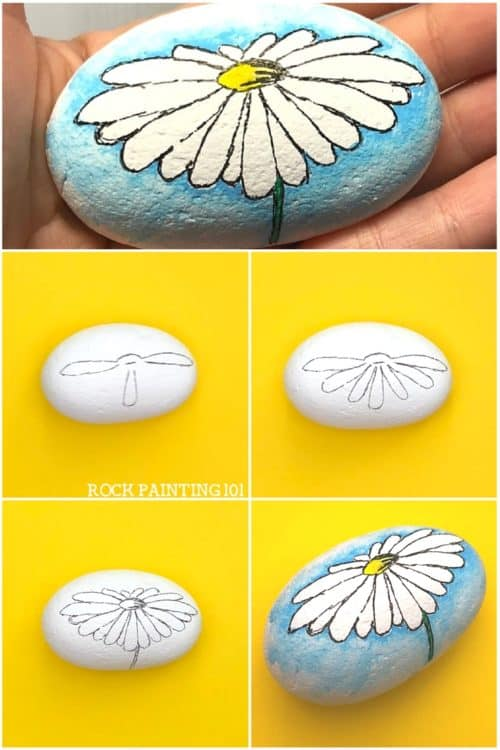 Create a watercolor effect with Posca paint pens or regular acrylic paints. This easy tutorial will walk you through a fun technique by painting a daisy rock. Watch the video and find out how easy this process is. It's perfect for rock painting beginners! #howtodrawadaisy #rockpainting #stonepainting #paintedrocks #watercolor #posca #rockpainting101