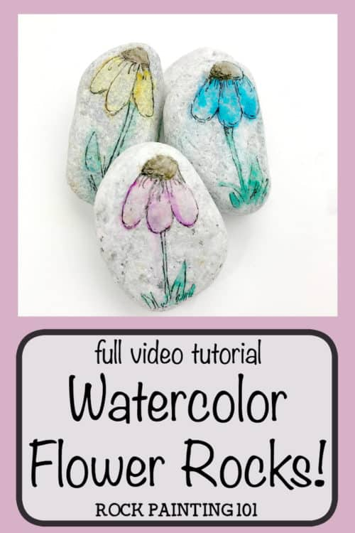 A washed out painting technique that's perfect for rock painting or a beginner art project. This technique uses materials you probably have around the house. You don't even need to own expensive water colors or paint pens! #watercoloreffect #washedoutpainting #howtopaintrocks #rockpaintingtechniques #rockpaintingideas #stonepainting #paintedpebbles #flowerrocks #springrockpainting #rockpainting101