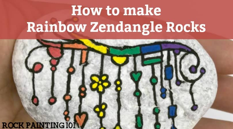 How to make fun rainbow zendangles on your rocks