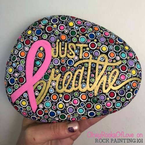 This fun way to stack dots will help you to master your dot painting technique. It's perfect for mandalas and other rock painting ideas. #dotpainting #mandala #howtopaintrocks #pinkribbon #rockpaintingideas #rockpainting101