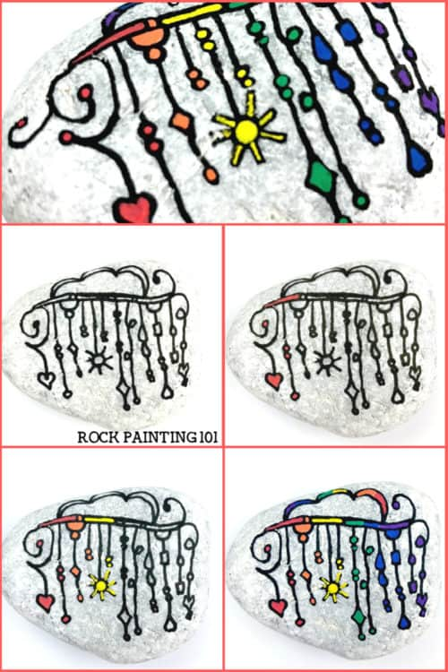 We are loving this rainbow zendangle painted rock! Let the colors of the rainbow dangle to create this beautiful and fun rock painting idea. #zendangle #rainbow #dangles #howtopaintrocks #howtozendangle #rainbowrocks #rockpainting #stonepainting #rockpainting101