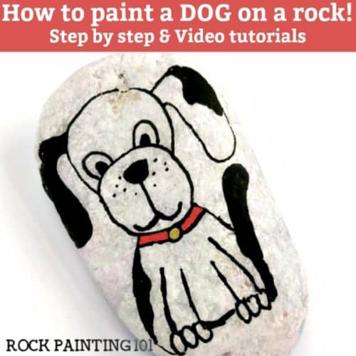 Learn how to paint a dog for a fun and easy painted rock. A style of painting perfect for beginners. Grab your paint pens or paintbrush and let's paint! #dog #paintedrock #howtopaintadog #howtodrawadog #dogrocks #videotutorial #rockpainting101