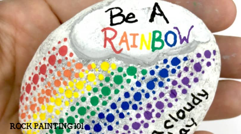 How to make a beautiful dotted rainbow kindness rock