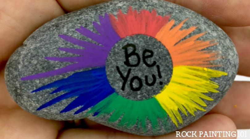 How to make a radial rainbow for a fun painted rock