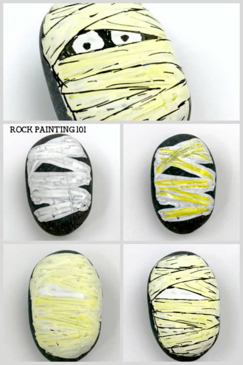 Learn how to draw a mummy on rocks with this fun video tutorial. Grab some paint pens and let's begin this fun spooky Halloween stone painting idea. #halloweenrockpainting #mummy #howtodrawamummy #howtopaintamummy #mummyrocks #rockpaintingideas #paintedrocks #stonepainting #rockpainting101