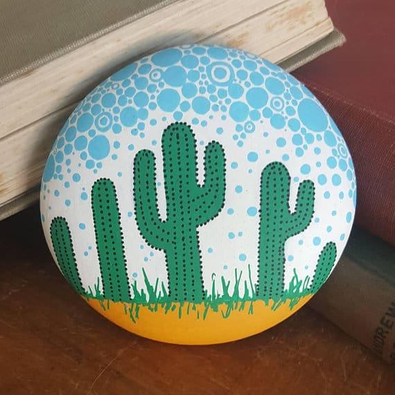This abstract cactus rock painting idea is perfect for beginners!